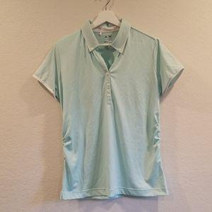 Adidas Women Size L Green Short Sleeves Golf Shirt